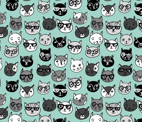 cat faces // mint cat head cats faces cats head hipster cats cute  pet cat fabric fabric by andrea_lauren on Spoonflower - custom fabric