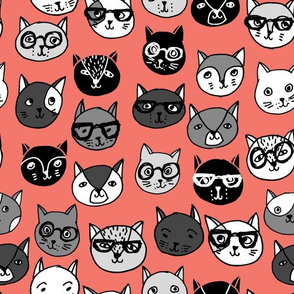 cat faces // cats glasses cat fabric cute cat fabrics andrea lauren fabric