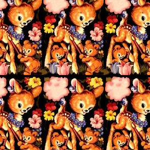 vintage retro kitsch deers fawns doe teddy bears flowers birds smiling happy paint brushes tulips garlands whimsical