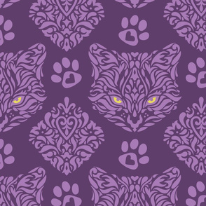 Mystic Cat Damask Purple