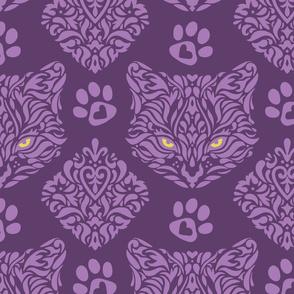Mystic Cat Damask Purple