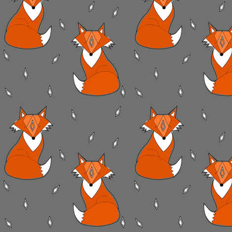 grey fox - elvelyckan fabric by elvelyckan on Spoonflower - custom fabric