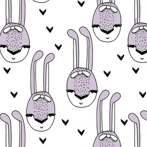 bunny // bunny rabbit hearts purple lavender lilac girls sweet pastel bunny with bow