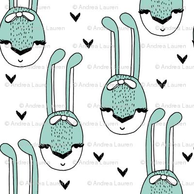 bunny // bunny mint cute bunny bows rabbits girls sweet animals