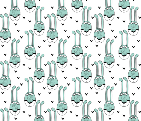 bunny // bunny mint cute bunny bows rabbits girls sweet animals fabric by andrea_lauren on Spoonflower - custom fabric