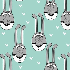 bunny // bunny bow head girls sweet hearts mint and grey rabbit