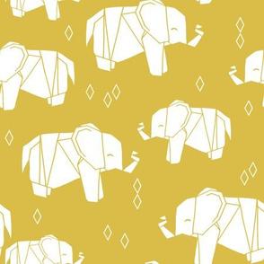 Origami Elephant - Mustard by Andrea Lauren