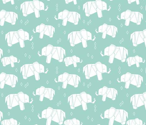 Origami Elephant - Pale Turquoise by Andrea Lauren  fabric by andrea_lauren on Spoonflower - custom fabric