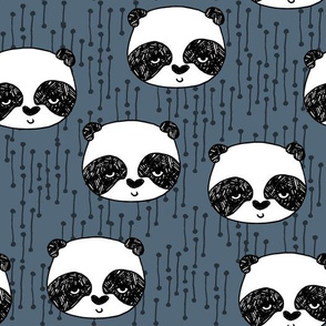 panda // blue grey pandas panda fabric hand-drawn illustration panda scandi panda