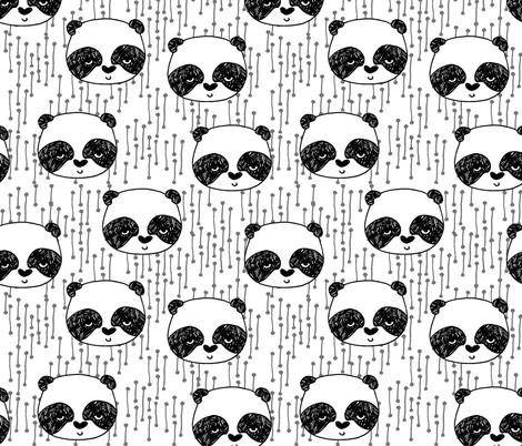 panda fabric // black and white panda head cute illustration by andrea lauren andrea lauren  nursery baby fabrics black and white scandi nursery cute baby design fabric by andrea_lauren on Spoonflower - custom fabric
