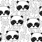 panda fabric // black and white panda head cute illustration by andrea lauren andrea lauren  nursery baby fabrics black and white scandi nursery cute baby design