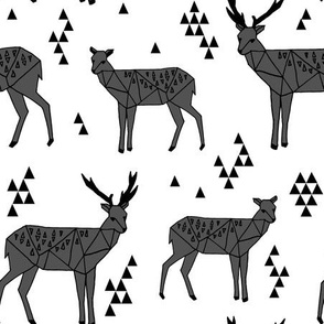 Geometric Deer - Charcoal by Andrea Lauren
