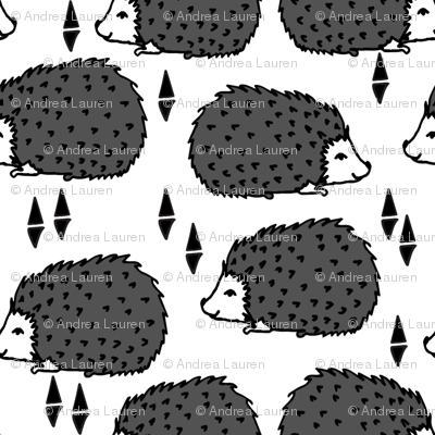 Hedgehogs - Charcoal White by Andrea Lauren