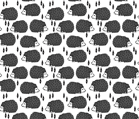 Hedgehogs - Charcoal White by Andrea Lauren  fabric by andrea_lauren on Spoonflower - custom fabric