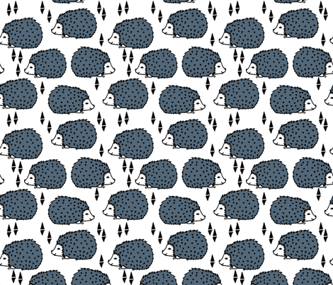 Hedgehog - Payne's Grey and White by Andrea Lauren fabric by andrea_lauren on Spoonflower - custom fabric
