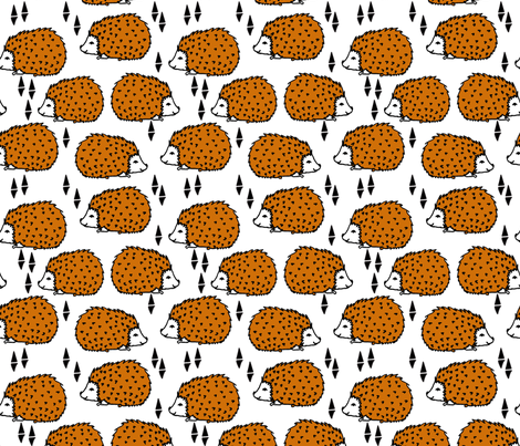 Hedgehog - Rust and White by Andrea Lauren  fabric by andrea_lauren on Spoonflower - custom fabric