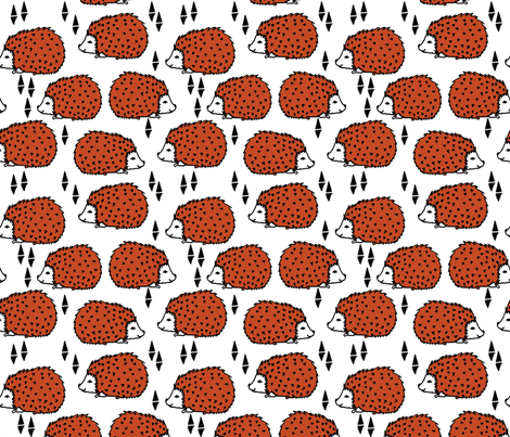 Hedgehog - Tawny Orange and White by Andrea Lauren fabric by andrea_lauren on Spoonflower - custom fabric