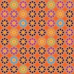 Orange Geometric Flowers
