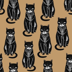 cat // cat fabric halloween cat block print linocut