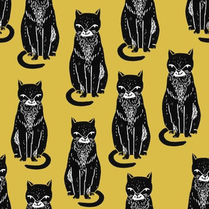 black cat // yellow and black cats cat fabric halloween fabric