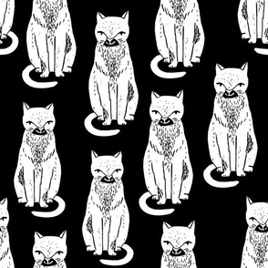 black cat // cats black and white cat stamp cute halloween cat