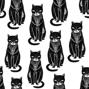 black cat // linocut block print stamp cat kitten cute black and white halloween cat fabric