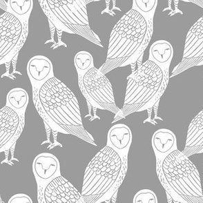 owls // grey block printed hand-carved bird owls owl illustration by Andrea Lauren