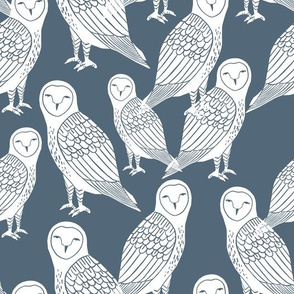 owls // paynes grey block printed bird cute owl design