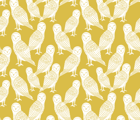 owls // block printed mustard and white hand-carved illustration by Andrea Lauren fabric by andrea_lauren on Spoonflower - custom fabric
