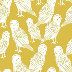owls // block printed mustard and white hand-carved illustration by Andrea Lauren