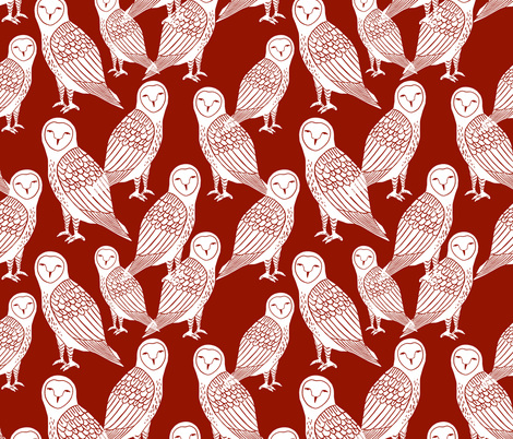 owls // burgundy wine dark red jewel tone halloween block printed hand-carved illustration by Andrea Lauren fabric by andrea_lauren on Spoonflower - custom fabric