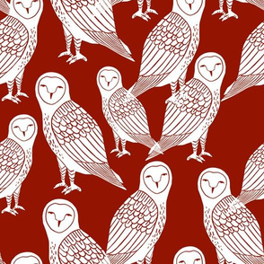 owls // burgundy wine dark red jewel tone halloween block printed hand-carved illustration by Andrea Lauren
