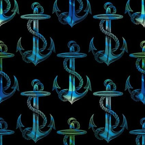 Vinatge Anchor Blue Green on Black