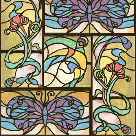 Tiffany Stained Glass Galore fabric by hummingbird-stitch on Spoonflower - custom fabric