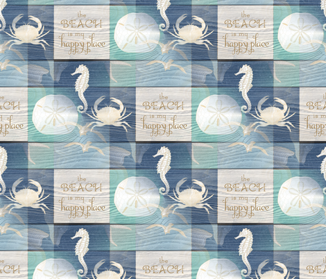 Beach Happy Place Sea on Wood fabric by 13moons_design on Spoonflower - custom fabric
