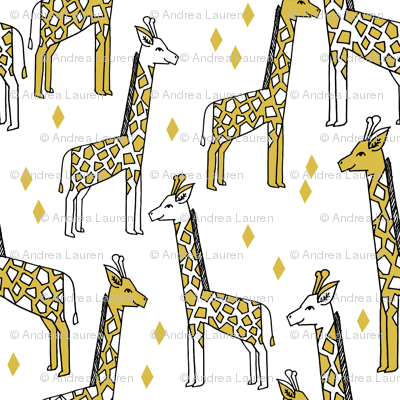 Giraffe fabric //- Mustard by Andrea Lauren