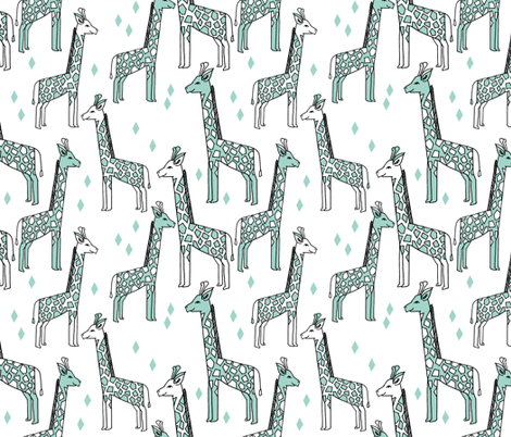 Giraffe - Pale Turquoise by Andrea Lauren fabric by andrea_lauren on Spoonflower - custom fabric