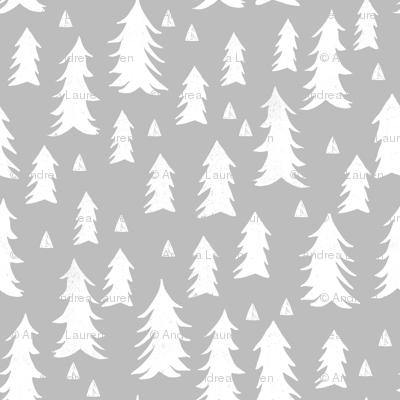 trees // grey forest tree nursery baby kids simple minimal style