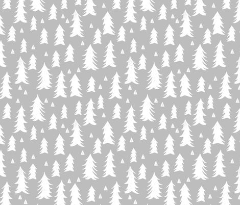 trees // grey forest tree nursery baby kids simple minimal style fabric by andrea_lauren on Spoonflower - custom fabric