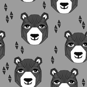 bear // happy bear charcoal and grey bear design bear face bear head andrea lauren nursery fabric