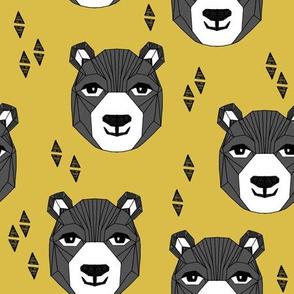 bear // happy bear face bear head mustard yellow bears design andrea lauren fabric andrea lauren design best bear fabric