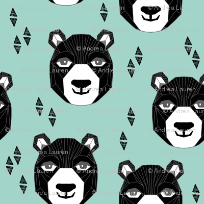 bear // happy bear fabric nursery design bear head geometric design geo bear head nursery fabric