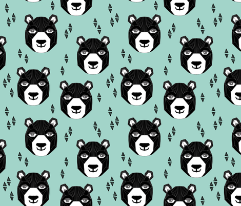 bear // happy bear fabric nursery design bear head geometric design geo bear head nursery fabric fabric by andrea_lauren on Spoonflower - custom fabric