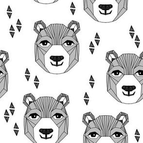 bear // happy bear head grey bear face geometric bear design bears fabric cute bears fabric