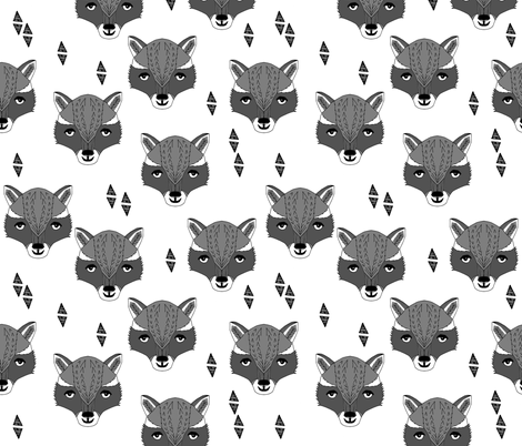 raccoon // animal head sweet hand-drawn illustration for kids clothes baby nursery white background animal print fabric by andrea lauren fabric by andrea_lauren on Spoonflower - custom fabric