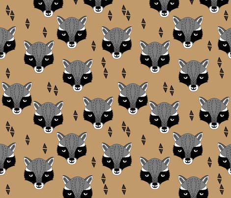 raccoon // brown outdoors animals kids scouts camp ivanhoe  fabric by andrea_lauren on Spoonflower - custom fabric