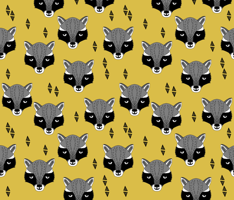 raccoon // mustard  yellow raccoon animal cute yellow woodland animal fabric by andrea lauren fabric by andrea_lauren on Spoonflower - custom fabric