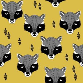 raccoon // mustard  yellow raccoon animal cute yellow woodland animal fabric by andrea lauren
