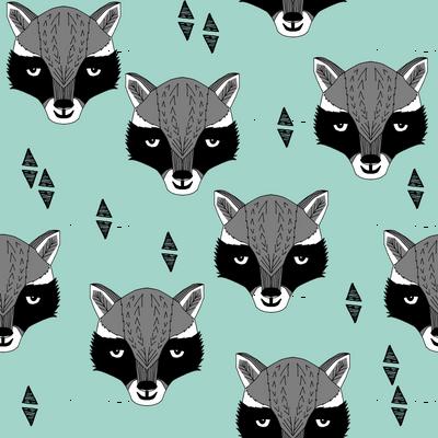 raccoon /// mint sweet raccoon face animal head hand-drawn illustration mint kids gender neutral baby nursery