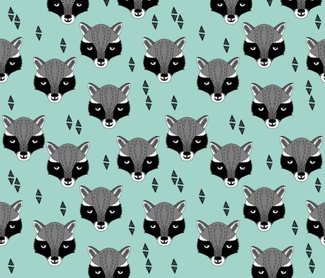 Raccoon mint sweet raccoon face animal head hand drawn for Unisex baby fabric